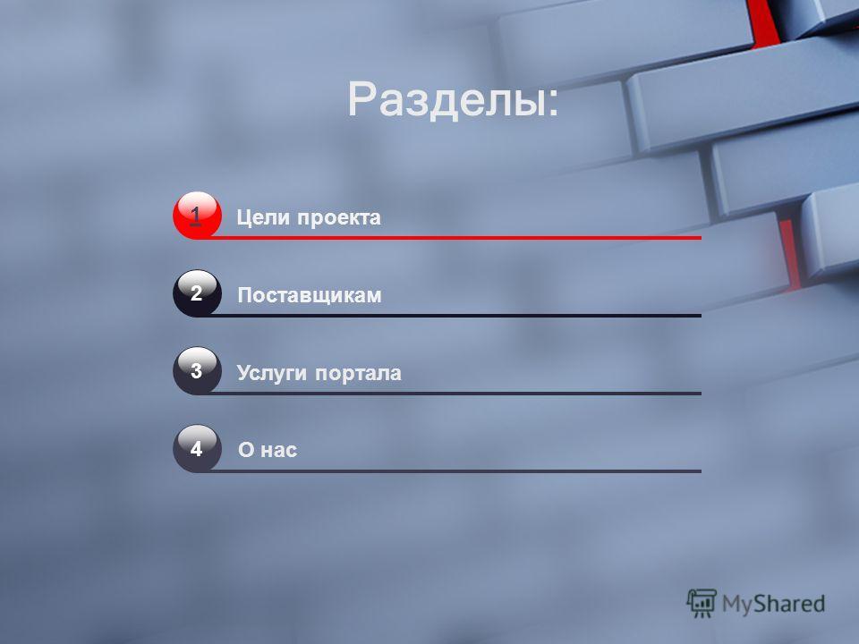 1 Цели проекта Поставщикам Услуги портала О нас 2 3 4 Разделы: