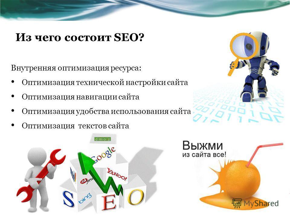 Из чего состоит SEO? Внутренняя оптимизация ресурса: Оптимизация технической настройки сайта Оптимизация навигации сайта Оптимизация удобства использования сайта Оптимизация текстов сайта