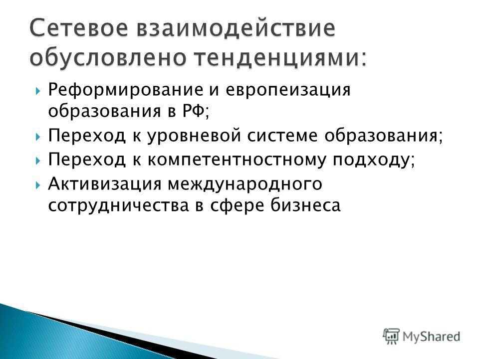 Реформирование и европеизация образования в РФ; Переход к уровневой системе образования; Переход к компетентностному подходу; Активизация международного сотрудничества в сфере бизнеса