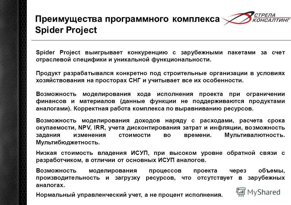 Преимущества программного комплекса Spider Project Spider Project выигрывает конкуренцию с зарубежными пакетами за счет отраслевой специфики и уникальной функциональности. Возможность моделирования хода исполнения проекта при ограничении финансов и м