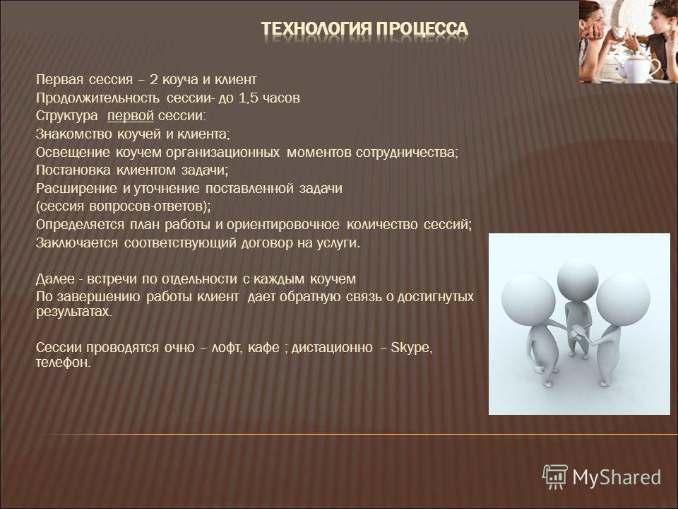 Первая сессия – 2 коуча и клиент Продолжительность сессии- до 1,5 часов Структура первой сессии: Знакомство коучей и клиента; Освещение коучем организационных моментов сотрудничества; Постановка клиентом задачи ; Расширение и уточнение поставленной з