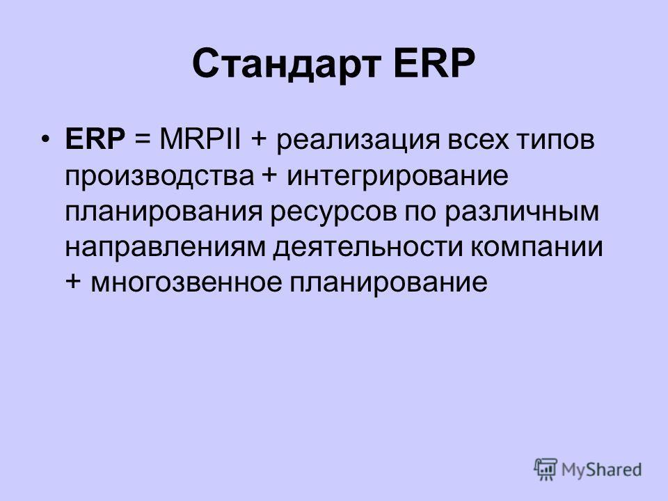 Стандарт ERP ERP-система (Enterprise Resource Planning)– информационная система для идентификации и планирования всех ресурсов предприятия, которые необходимы для осуществления продаж, производства, закупок и учета в процессе выполнения клиентских за