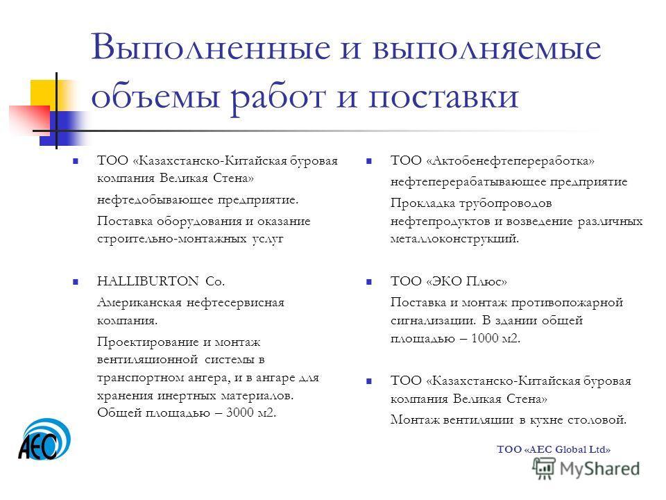 Выполненные и выполняемые объемы работ и поставки ТОО «Казахстанско-Китайская буровая компания Великая Стена» нефтедобывающее предприятие. Поставка оборудования и оказание строительно-монтажных услуг HALLIBURTON Co. Американская нефтесервисная компан