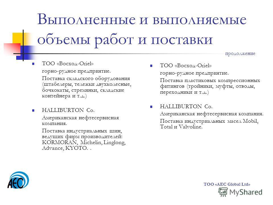 Выполненные и выполняемые объемы работ и поставки продолжение ТОО «Восход-Oriel» горно-рудное предприятие. Поставка складского оборудования (штабелеры, тележки двухколесные, бочкокаты, стремянки, складские контейнера и т.д.) HALLIBURTON Co. Американс