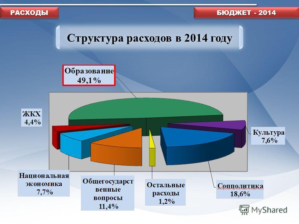 Структура расходов в 2014 году БЮДЖЕТ - 2014 РАСХОДЫРАСХОДЫ