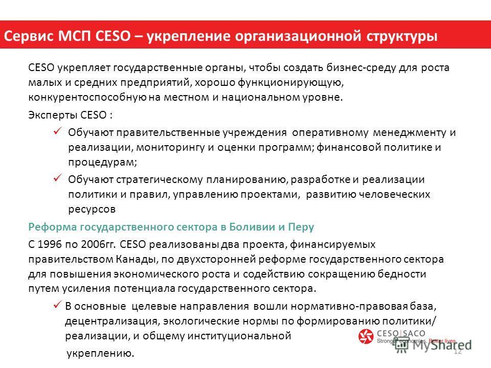 CESO укрепляет государственные органы, чтобы создать бизнес-среду для роста малых и средних предприятий, хорошо функционирующую, конкурентоспособную на местном и национальном уровне. Эксперты CESO : Обучают правительственные учреждения оперативному м