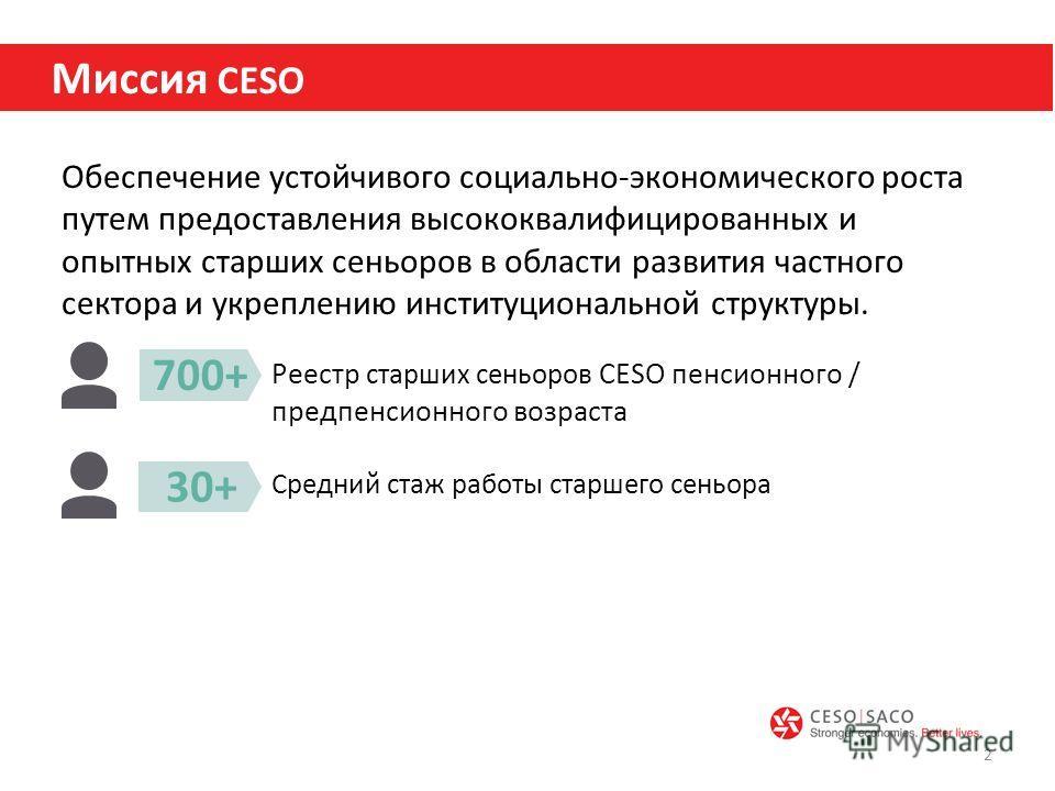 Обеспечение устойчивого социально-экономического роста путем предоставления высококвалифицированных и опытных старших сеньоров в области развития частного сектора и укреплению институциональной структуры. 2 Миссия CESO Реестр старших сеньоров CESO пе