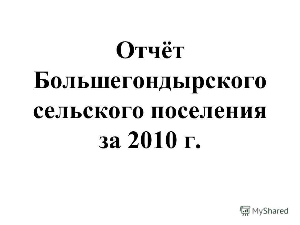 Отчёт Большегондырского сельского поселения за 2010 г.
