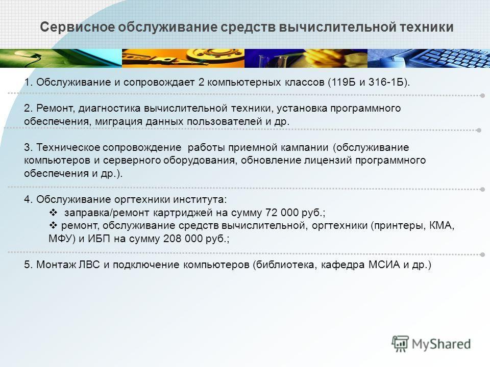 Сервисное обслуживание средств вычислительной техники 1. Обслуживание и сопровождает 2 компьютерных классов (119Б и 316-1Б). 2. Ремонт, диагностика вычислительной техники, установка программного обеспечения, миграция данных пользователей и др. 3. Тех
