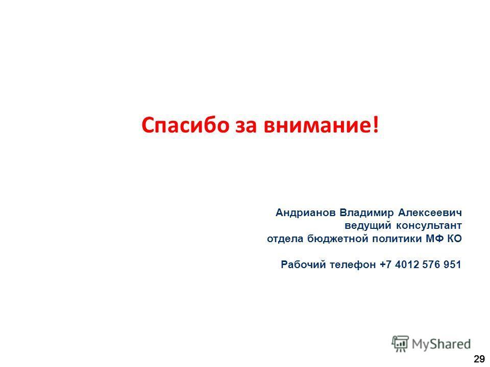 Спасибо за внимание! 29 Андрианов Владимир Алексеевич ведущий консультант отдела бюджетной политики МФ КО Рабочий телефон +7 4012 576 951