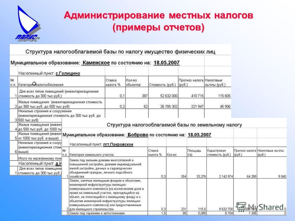 Администрирование местных налогов (примеры отчетов)