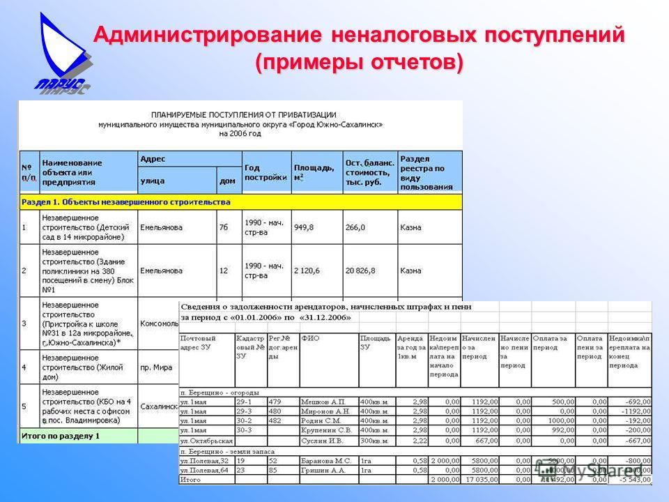 Администрирование неналоговых поступлений (примеры отчетов)