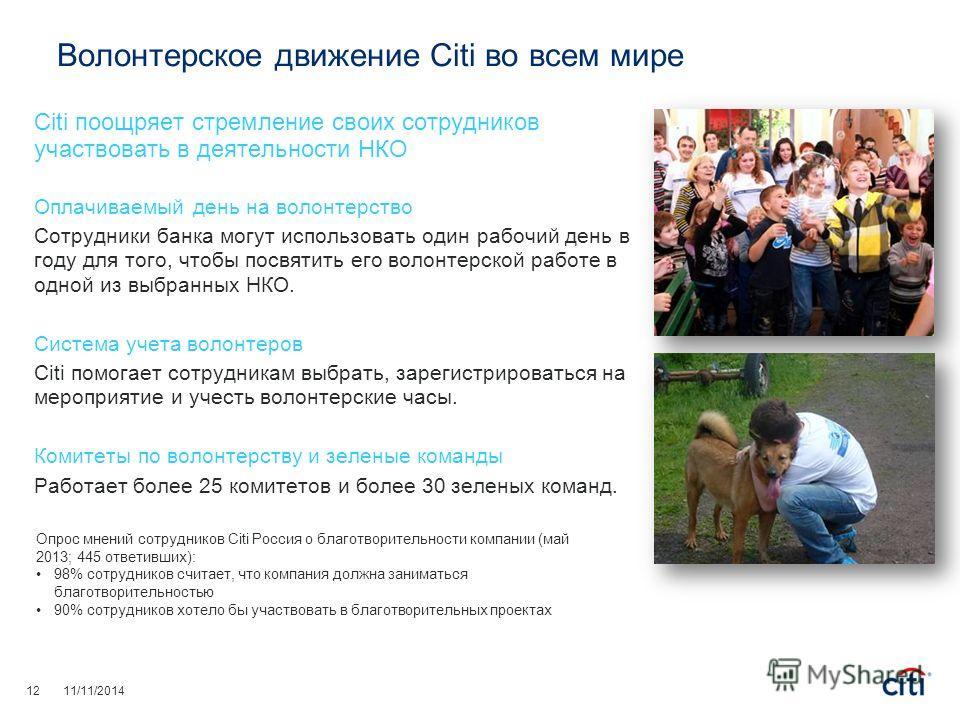 Волонтерское движение Citi во всем мире Citi поощряет стремление своих сотрудников участвовать в деятельности НКО Оплачиваемый день на волонтерство Сотрудники банка могут использовать один рабочий день в году для того, чтобы посвятить его волонтерско