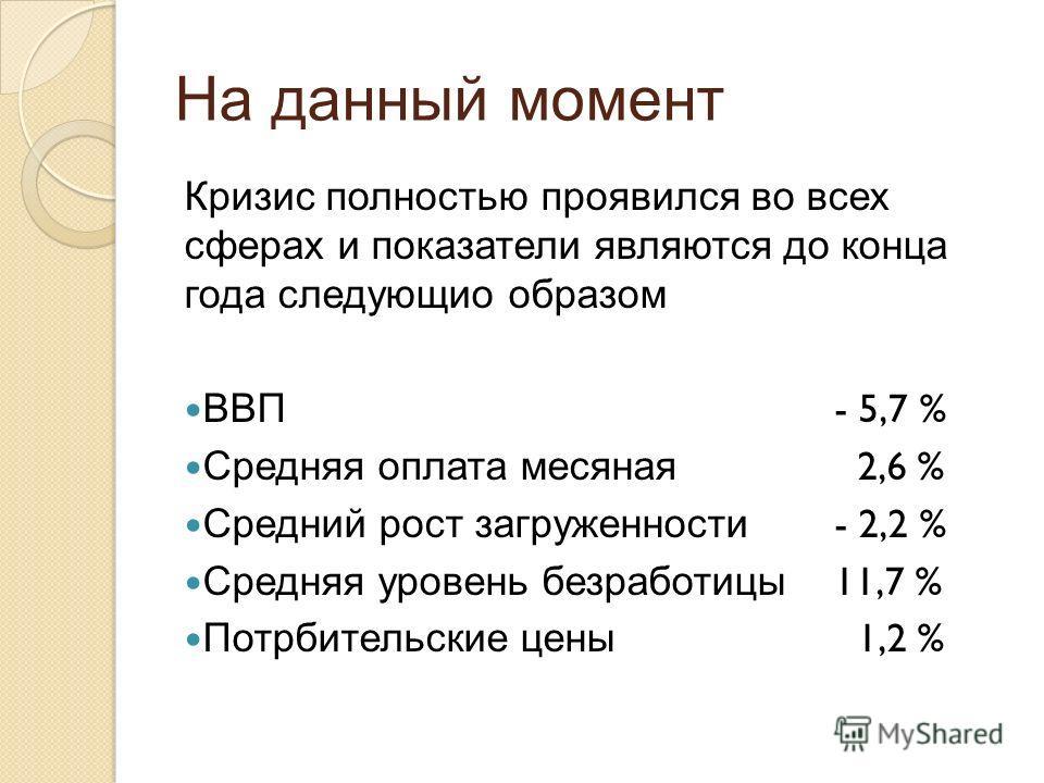 На данный момент Кризис полностью проявился во всех сферах и показатели являются до конца года следующио образом ВВП - 5,7 % Средняя оплата месяная 2,6 % Средний рост загруженности - 2,2 % Средняя уровень безработицы 11,7 % Потрбительские цены 1,2 %