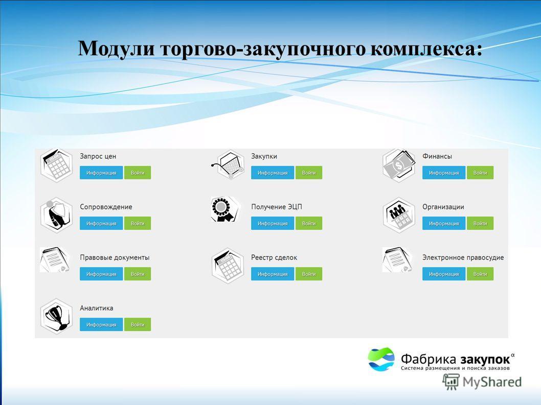 Модули торгово-закупочного комплекса: