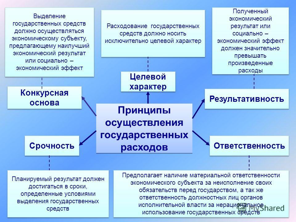 Конкурсная основа Выделение государственных средств должно осуществляться экономическому субъекту, предлагающему наилучший экономический результат или социально – экономический эффект Принципы осуществления государственных расходов Целевой характер Р
