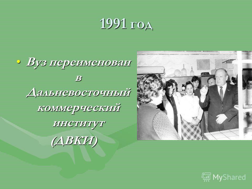 1991 год Вуз переименован в Дальневосточный коммерческий институт Вуз переименован в Дальневосточный коммерческий институт(ДВКИ)