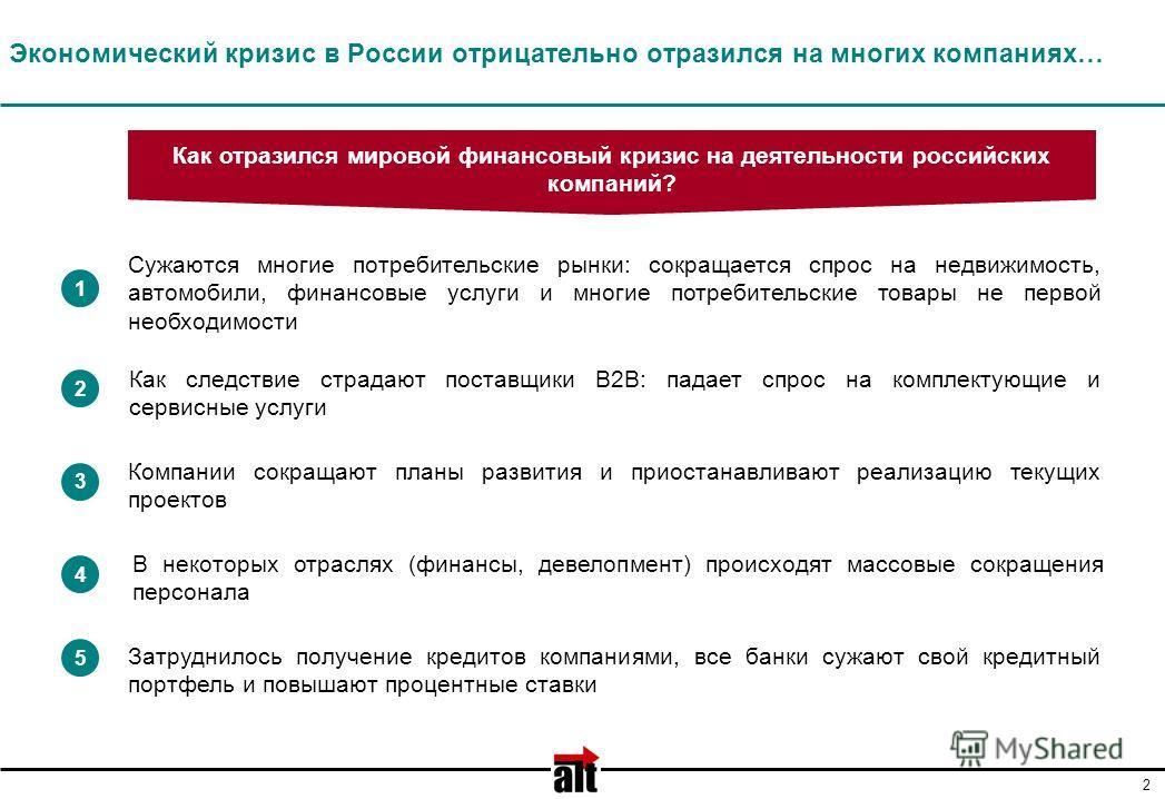 2 Экономический кризис в России отрицательно отразился на многих компаниях… Сужаются многие потребительские рынки: сокращается спрос на недвижимость, автомобили, финансовые услуги и многие потребительские товары не первой необходимости 1 2 3 4 5 Комп
