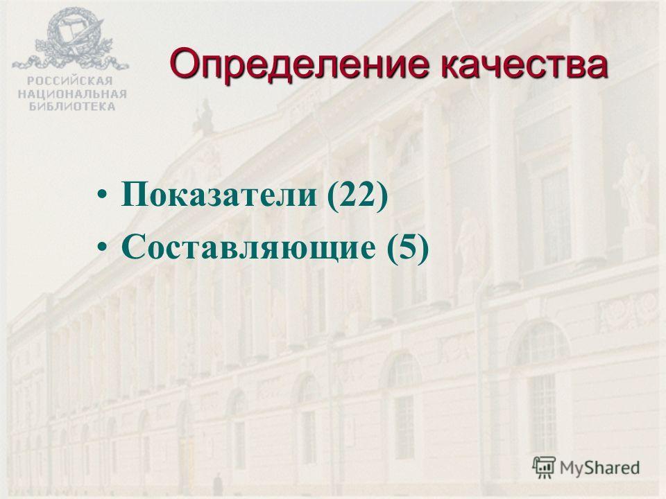 Определение качества Показатели (22) Составляющие (5)