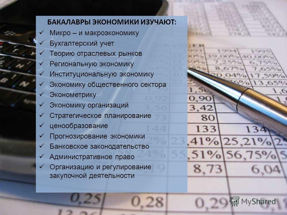 БАКАЛАВРЫ ЭКОНОМИКИ ИЗУЧАЮТ: Микро – и макроэкономику Бухгалтерский учет Теорию отраслевых рынков Региональную экономику Институциональную экономику Экономику общественного сектора Эконометрику Экономику организаций Стратегическое планирование ценооб