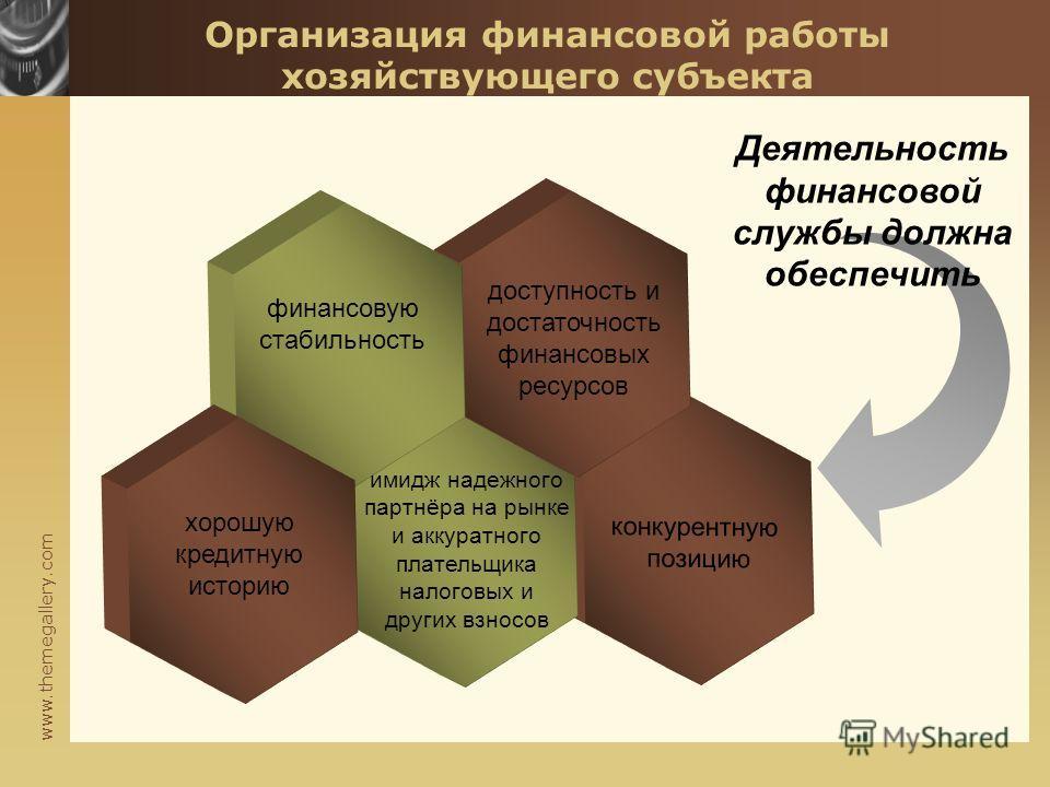 www.themegallery.com конкурентную позицию Организация финансовой работы хозяйствующего субъекта Деятельность финансовой службы должна обеспечить финансовую стабильность хорошую кредитную историю доступность и достаточность финансовых ресурсов имидж н