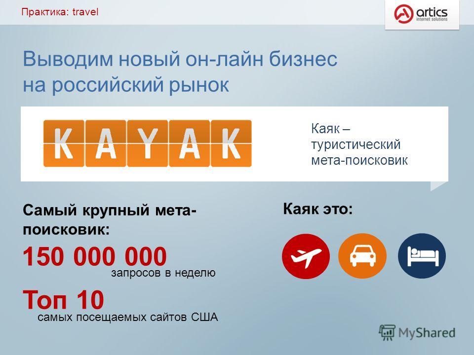 Выводим новый он-лайн бизнес на российский рынок Самый крупный мета- поисковик: Каяк – туристический мета-поисковик Каяк это: 150 000 000 запросов в неделю Toп 10 самых посещаемых сайтов США Практика: travel