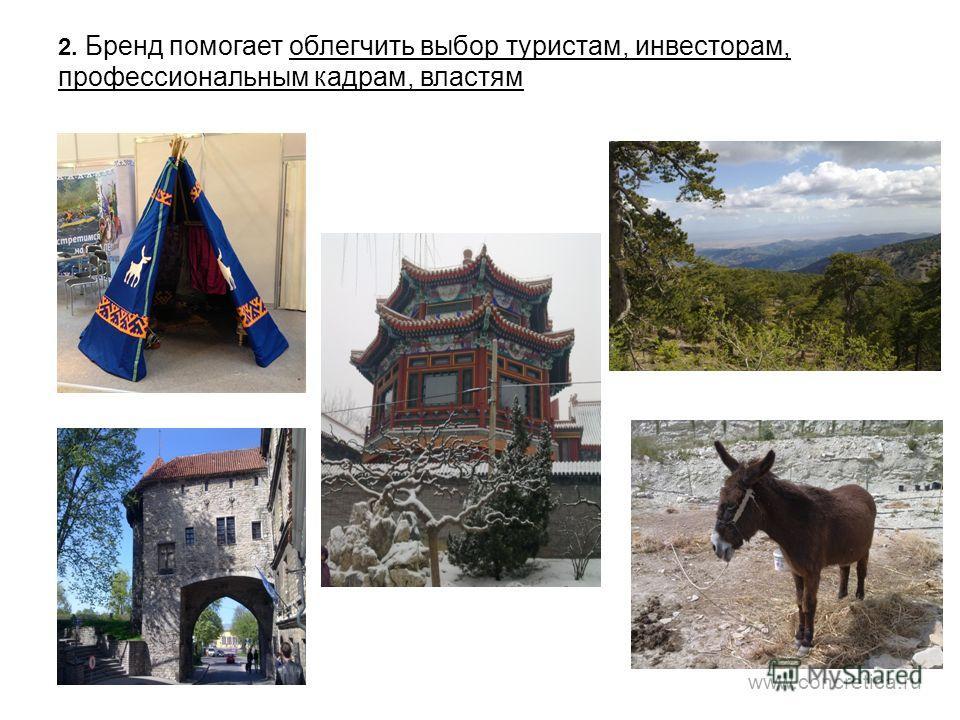 2. Бренд помогает облегчить выбор туристам, инвесторам, профессиональным кадрам, властям www.concretica.ru