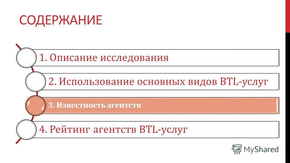 СОДЕРЖАНИЕ 1. Описание исследования 2. Использование основных видов BTL-услуг 3. Известность агентств 4. Рейтинг агентств BTL-услуг