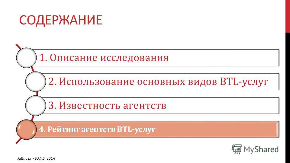 СОДЕРЖАНИЕ 1. Описание исследования 2. Использование основных видов BTL-услуг 3. Известность агентств 4. Рейтинг агентств BTL-услуг AdIndex - РАМУ 2014