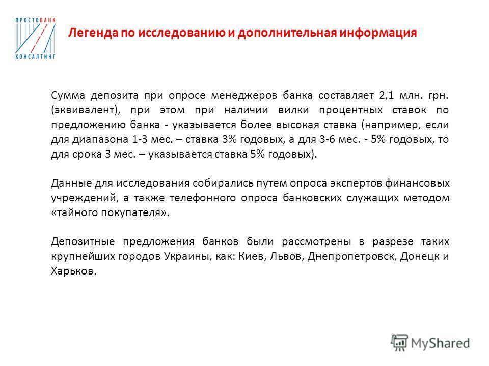 Сумма депозита при опросе менеджеров банка составляет 2,1 млн. грн. (эквивалент), при этом при наличии вилки процентных ставок по предложению банка - указывается более высокая ставка (например, если для диапазона 1-3 мес. – ставка 3% годовых, а для 3