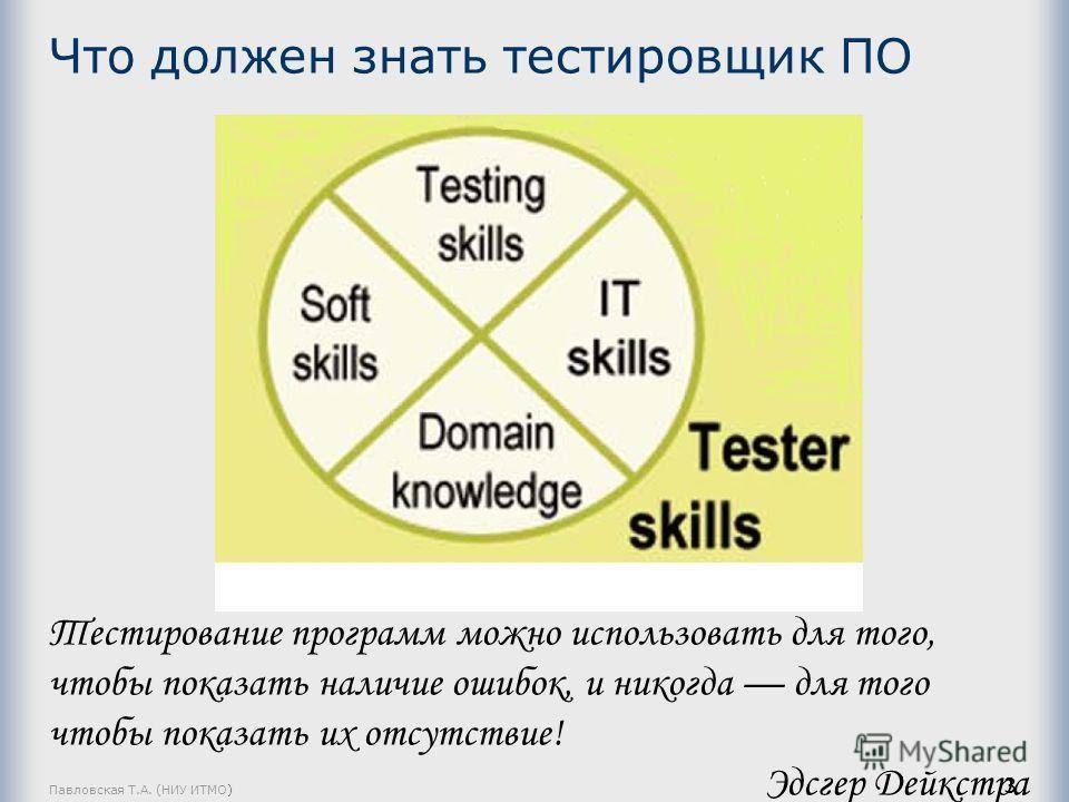 Что должен знать тестировщик ПО Павловская Т.А. (НИУ ИТМО) 3 Тестирование программ можно использовать для того, чтобы показать наличие ошибок, и никогда для того чтобы показать их отсутствие! Эдсгер Дейкстра
