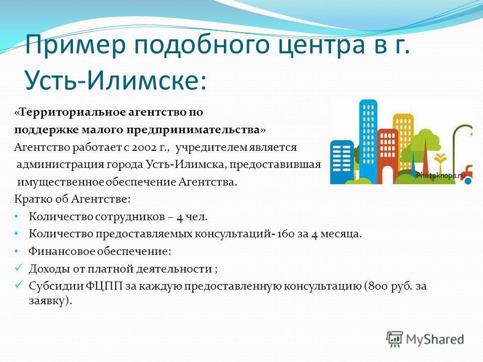 Пример подобного центра в г. Усть-Илимске: «Территориальное агентство по поддержке малого предпринимательства» Агентство работает с 2002 г., учредителем является администрация города Усть-Илимска, предоставившая имущественное обеспечение Агентства. К
