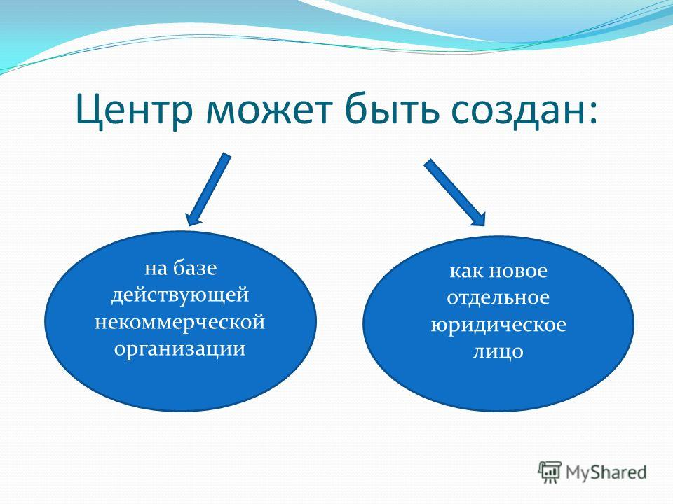 Центр может быть создан: на базе действующей некоммерческой организации как новое отдельное юридическое лицо