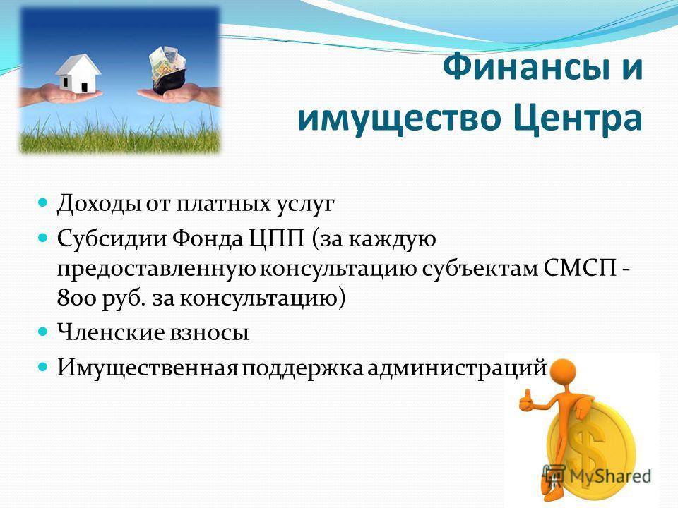 Финансы и имущество Центра Доходы от платных услуг Субсидии Фонда ЦПП (за каждую предоставленную консультацию субъектам СМСП - 800 руб. за консультацию) Членские взносы Имущественная поддержка администраций