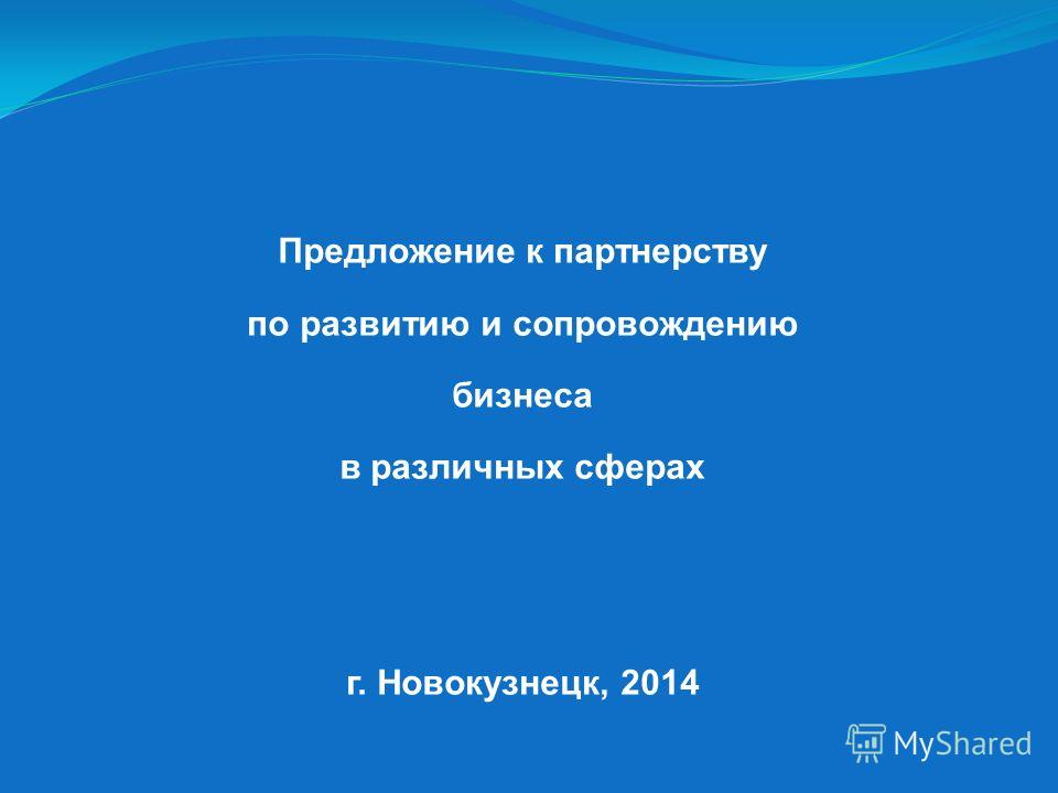 Предложение к партнерству по развитию и сопровождению бизнеса в различных сферах г. Новокузнецк, 2014
