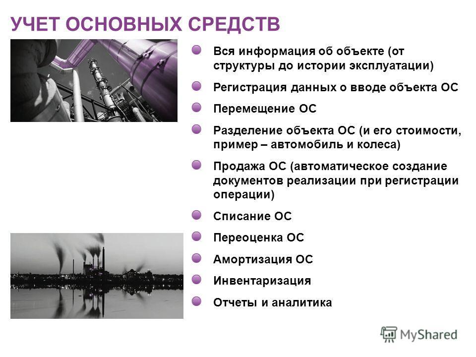 Вся информация об объекте (от структуры до истории эксплуатации) Регистрация данных о вводе объекта ОС Перемещение ОС Разделение объекта ОС (и его стоимости, пример – автомобиль и колеса) Продажа ОС (автоматическое создание документов реализации при
