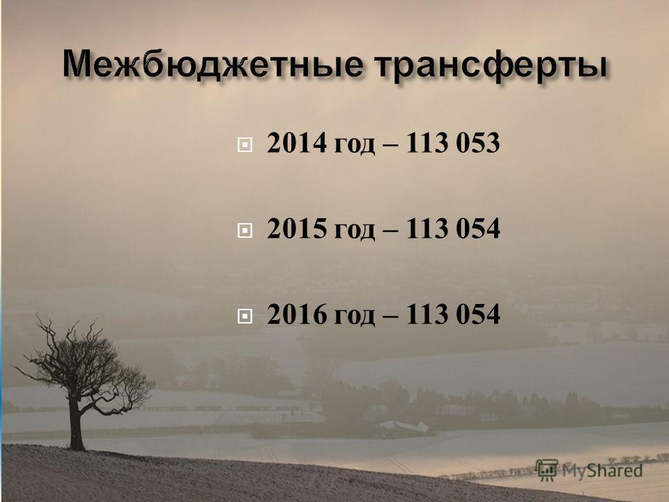 2014 год – 113 053 2015 год – 113 054 2016 год – 113 054