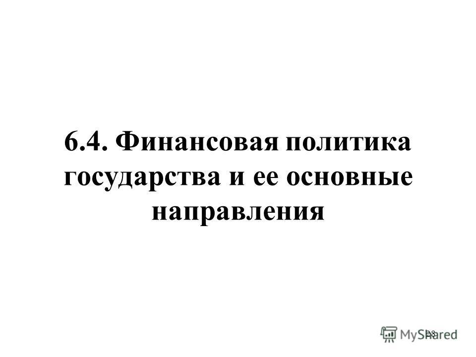 28 6.4. Финансовая политика государства и ее основные направления