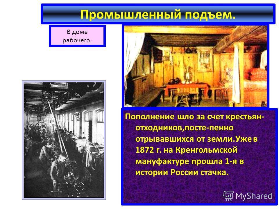 В доме рабочего. Промышленный подъем. Пополнение шло за счет крестьян- отходников,посте-пенно отрывавшихся от земли.Уже в 1872 г. на Кренгольмской мануфактуре прошла 1-я в истории России стачка.