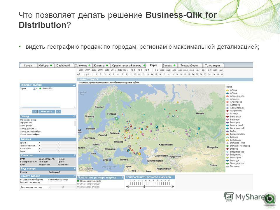 Что позволяет делать решение Business-Qlik for Distribution? видеть географию продаж по городам, регионам с максимальной детализацией;