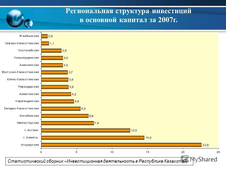 Региональная структура инвестиций в основной капитал за 2007 г. Статистический сборник «Инвестиционная деятельность в Республике Казахстан»