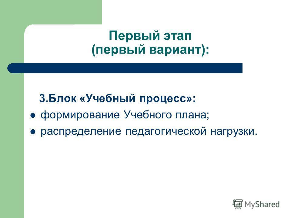 Первый этап (первый вариант): 3. Блок «Учебный процесс»: формирование Учебного плана; распределение педагогической нагрузки.