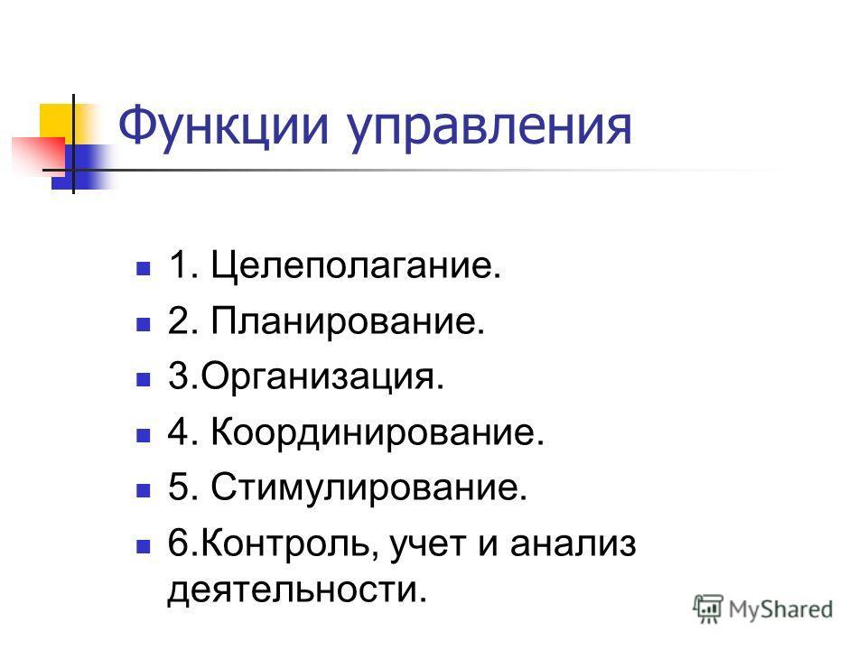 Функции управления 1. Целеполагание. 2. Планирование. 3.Организация. 4. Координирование. 5. Стимулирование. 6.Контроль, учет и анализ деятельности.
