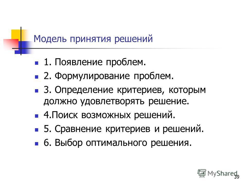 Модель принятия решений 1. Появление проблем. 2. Формулирование проблем. 3. Определение критериев, которым должно удовлетворять решение. 4. Поиск возможных решений. 5. Сравнение критериев и решений. 6. Выбор оптимального решения. 39