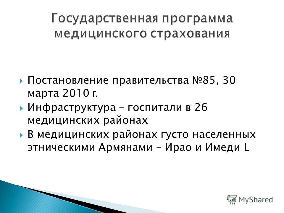 Постановление правительства 85, 30 марта 2010 г. Инфраструктура – госпитали в 26 медицинских районах В медицинских районах густо населенныx этническими Армянами – Ирао и Имеди L