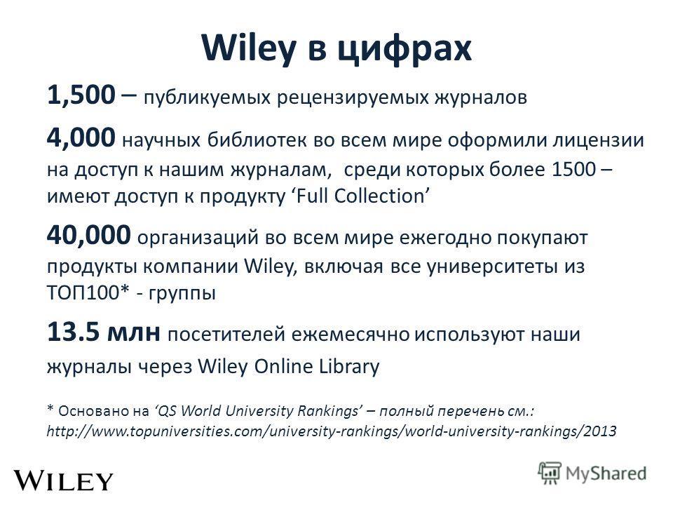 Wiley в цифрах 1,500 – публикуемых рецензируемых журналов 4,000 научных библиотек во всем мире оформили лицензии на доступ к нашим журналам, среди которых более 1500 – имеют доступ к продукту Full Collection 40,000 организаций во всем мире ежегодно п