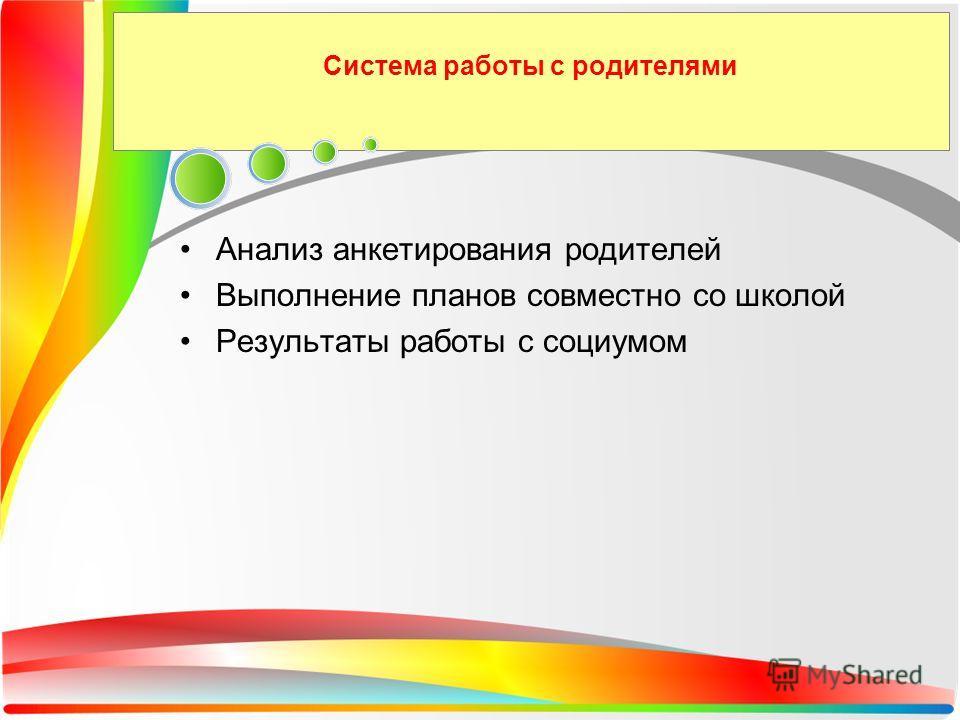 Система работы с родителями Анализ анкетирования родителей Выполнение планов совместно со школой Результаты работы с социумом