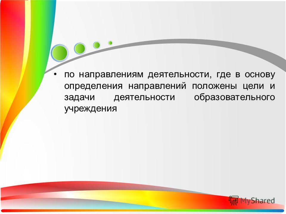 по направлениям деятельности, где в основу определения направлений положены цели и задачи деятельности образовательного учреждения