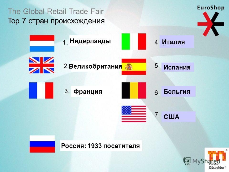 The Global Retail Trade Fair Top 7 стран происхождения Нидерланды Великобритания Франция Италия Испания Бельгия США Россия: 1933 посетителя