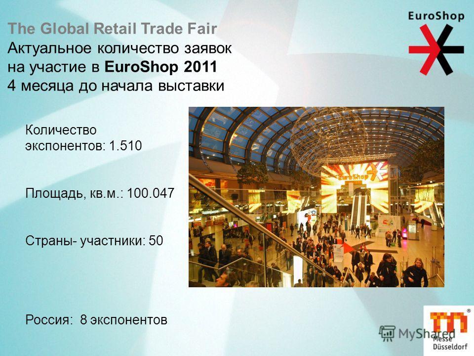 The Global Retail Trade Fair Актуальное количество заявок на участие в EuroShop 2011 4 месяца до начала выставки Количество экспонентов: 1.510 Площадь, кв.м.: 100.047 Страны- участники: 50 Россия: 8 экспонентов